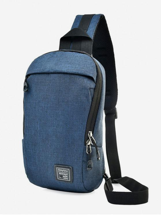 women Zipper Canvas Crossbody Outdoors Shoulder Bag - BLUE IVY