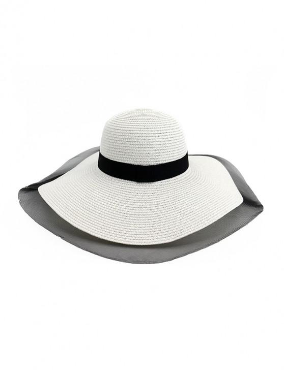 women's Mesh Floppy Straw Sun Hat - WHITE
