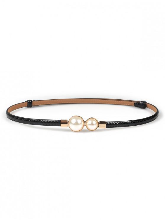 trendy Faux Pearl Design PU Waist Belt - BLACK
