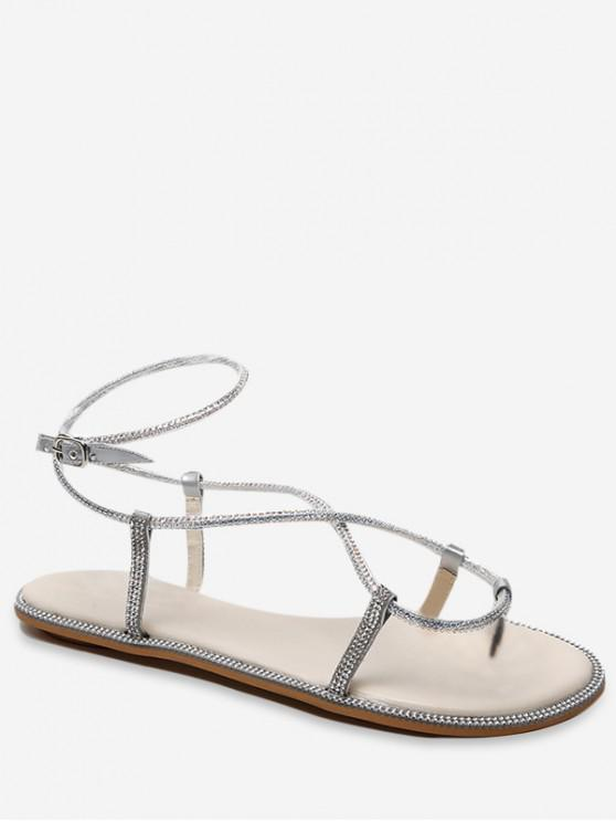 lady Rhinestone Inlaid Flat Sandals - SILVER EU 38