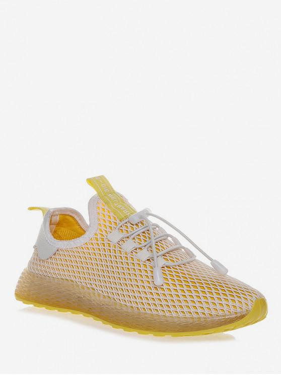 hot Lace-up Design Breathable Sport Shoes - YELLOW EU 35