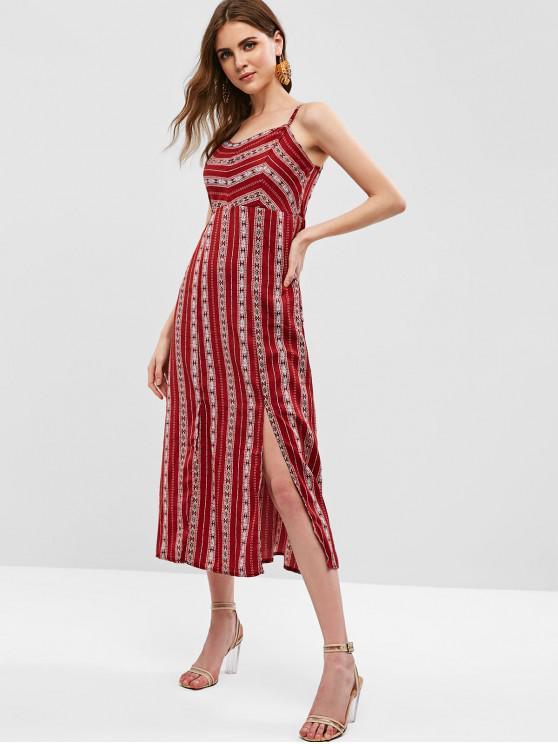 women High Waist Slits Printed Bohemian Dress - RED M