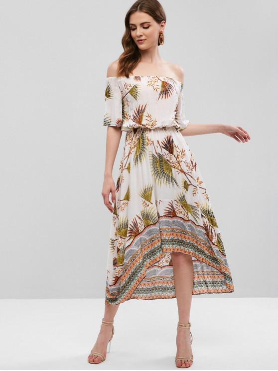 new High Low Printed Off Shoulder Dress - WHITE M