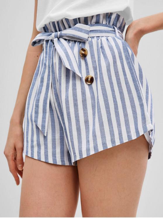 online ZAFUL Buttons Striped Belted Wide Leg Shorts - LIGHT BLUE S