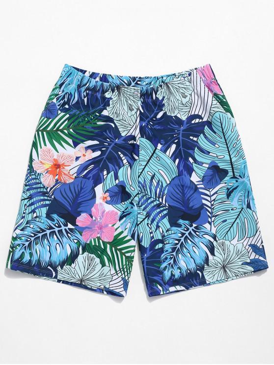 affordable Tropical Flower Leaf Print Beach Shorts - BLUE IVY 2XL