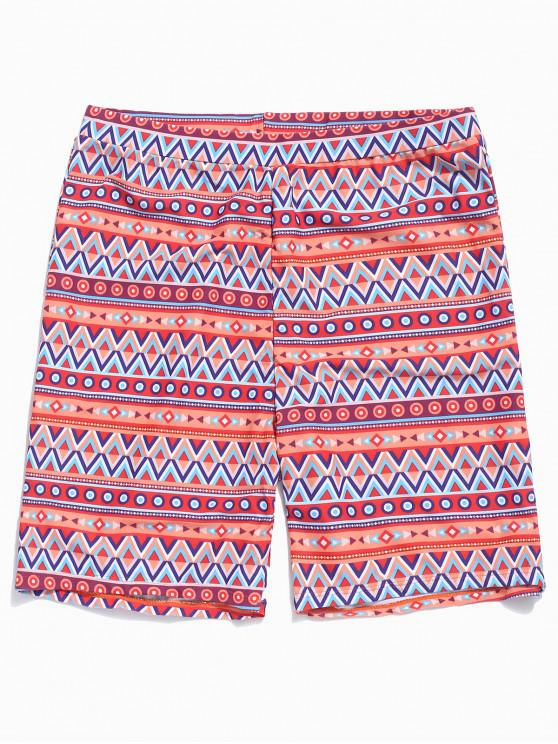 women's Colorful Geometric Print Board Shorts - CHESTNUT RED 2XL