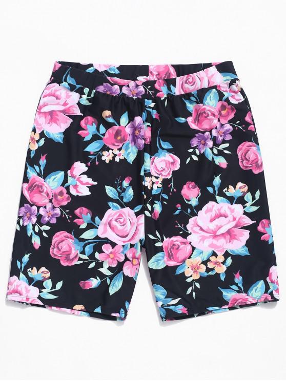 Pantalones cortos con estampado de flores - Negro XL