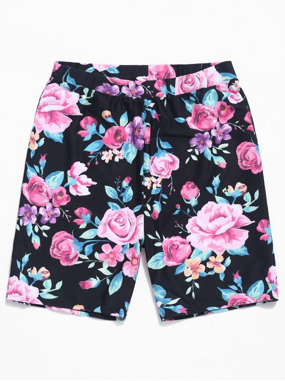 online Flowers Print Board Shorts - BLACK 2XL
