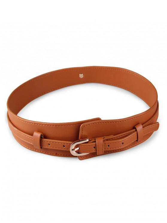 chic Solid Color PU Waist Belt - CAMEL BROWN
