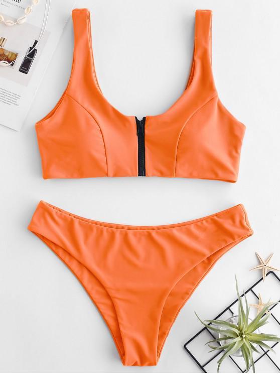 ZAFUL Zip Front Tank Bikini Set - Mango Naranja L