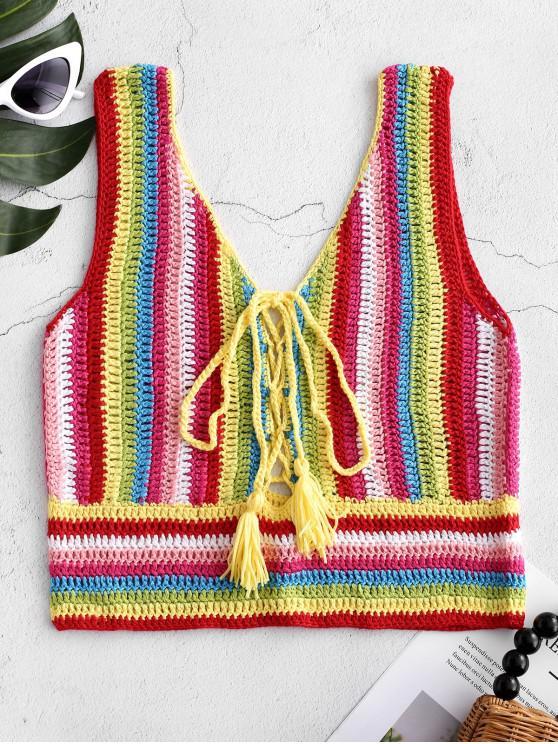 Top de rayas de crochet con cordones - Multicolor-A S