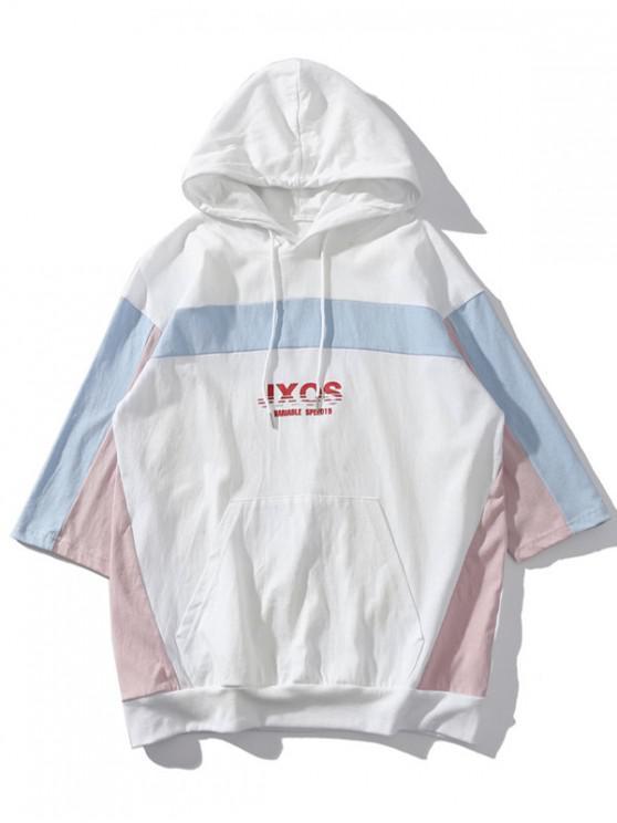 sale Hooded Kangaroo Pocket Color Block T-shirt - WHITE 2XL