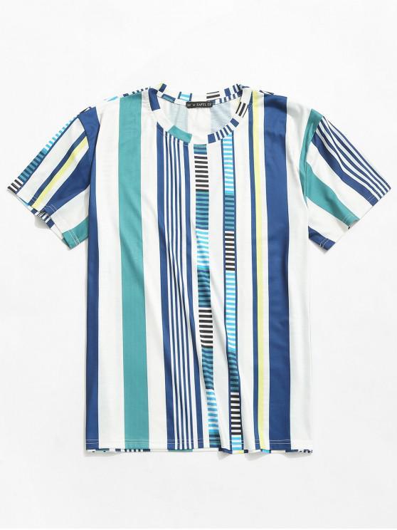 Camiseta de manga corta con estampado de rayas ZAFUL - Blanco 2XL