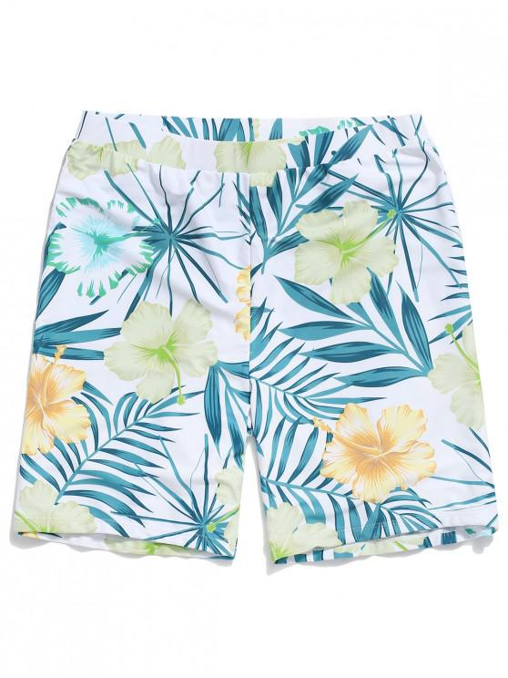 lady Floral Leaf Print Board Shorts - WHITE XL