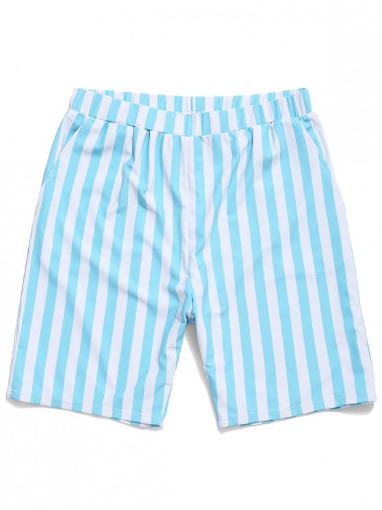new Striped Print Swimming Beach Shorts - DEEP SKY BLUE L