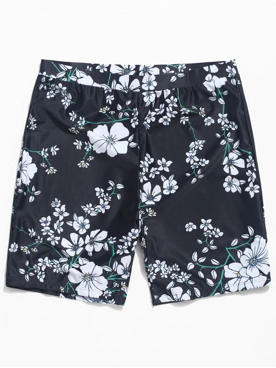 shops Floral Print Swim Trunks Beach Shorts - BLACK XL