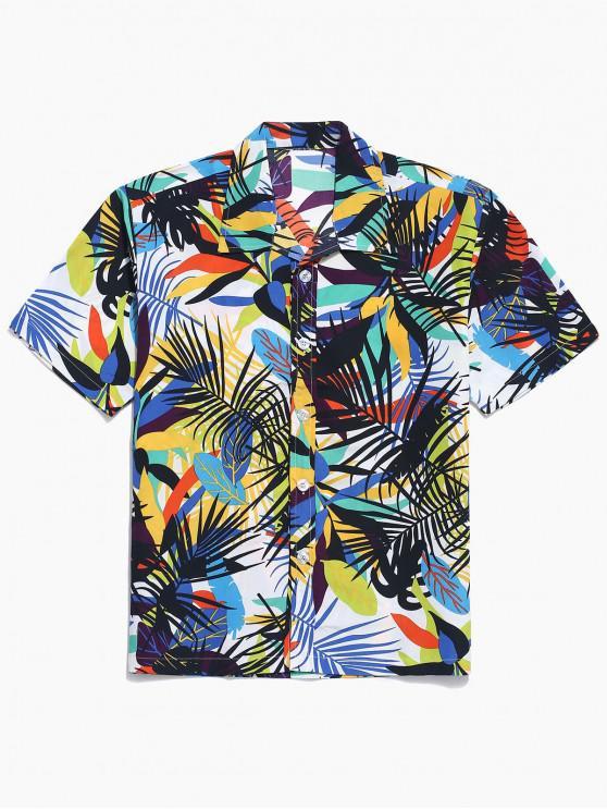 Buntes Blattdruck-Beiläufiges Strand-Shirt - Weiß L