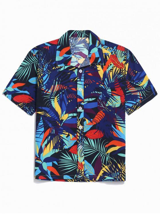 fashion Colorful Leaf Print Casual Beach Shirt - BLUE XL