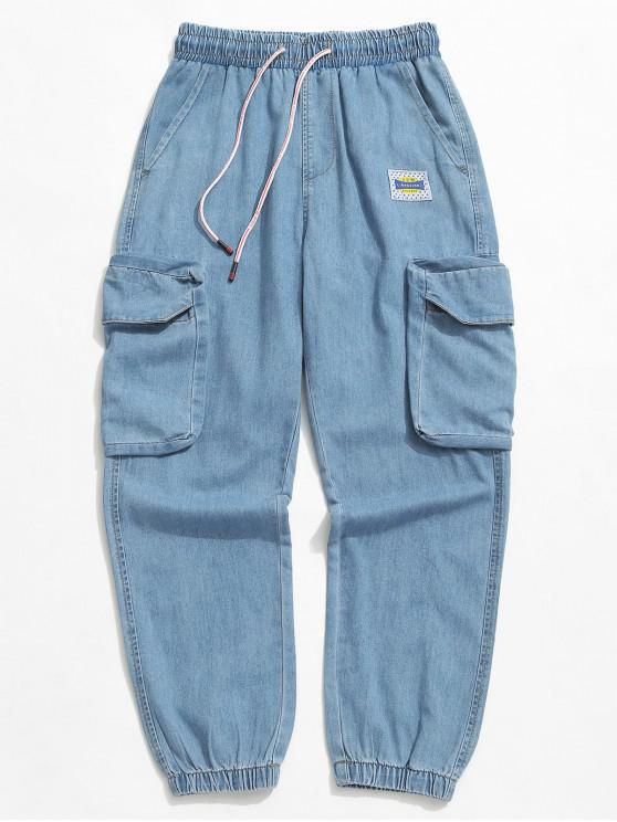 online Solid Color Drawstring Jogger Jeans - BLUE KOI XS