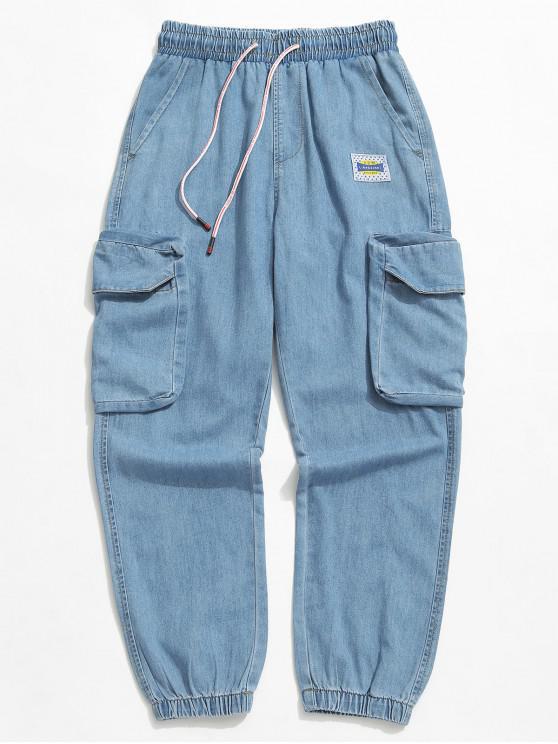 Einfarbige Kordelzug-Joggerjeans - Blaue Koifisch XL