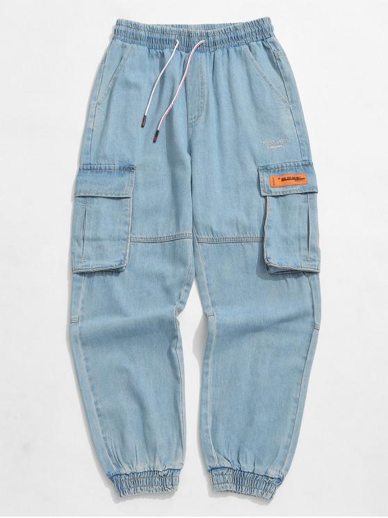 chic Applique Solid Color Jogger Denim Pants - CORNFLOWER BLUE XL