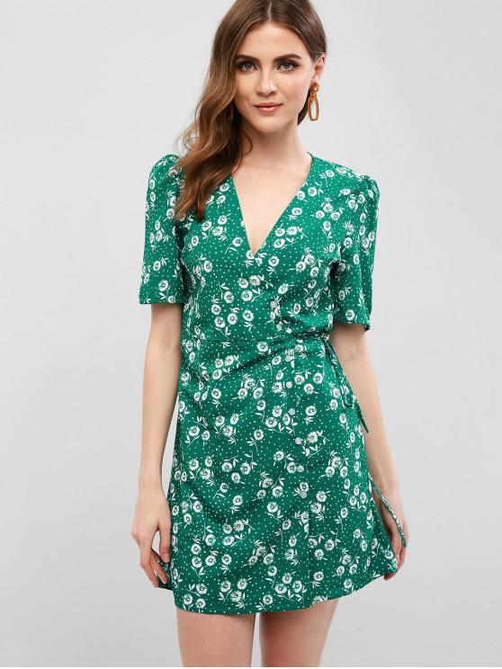 fashion Floral Button Up Wrap A Line Dress - GREEN L