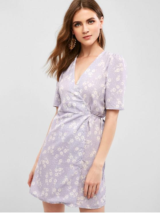 affordable Floral Button Up Wrap A Line Dress - WISTERIA PURPLE L
