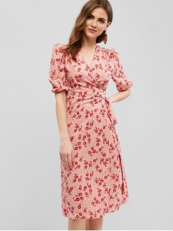 hot One Button Floral Wrap Midi Dress - KHAKI ROSE S