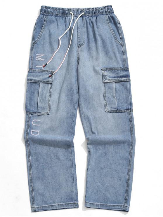 lady Letter Embroidery Applique Denim Pants - BLUE GRAY 2XL