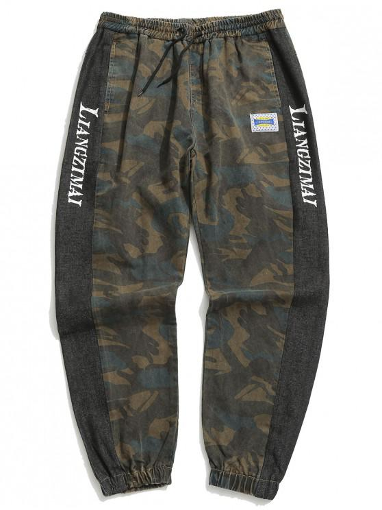 latest Camouflage Print Letter Panel Jogger Jeans - MULTI-A M
