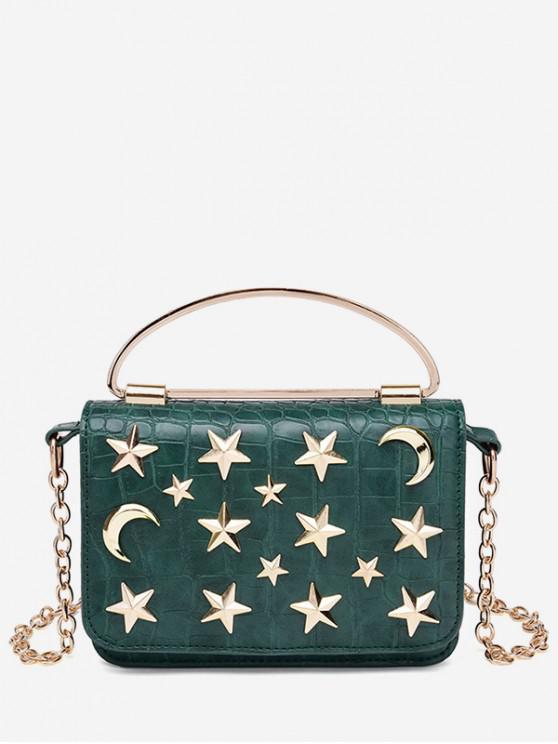 affordable Star Crescent Chain Rivet Shoulder Bag - GREEN