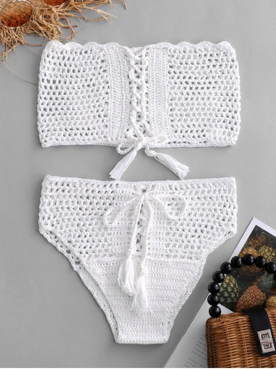 hot Lace-up Crochet Bikini Set - WHITE S