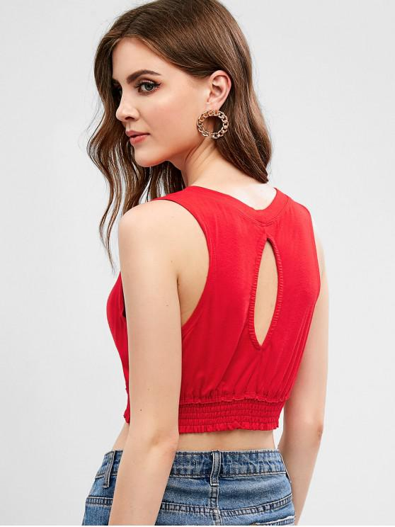 women ZAFUL Cut Out Smocked Crop Tank Top - RED L