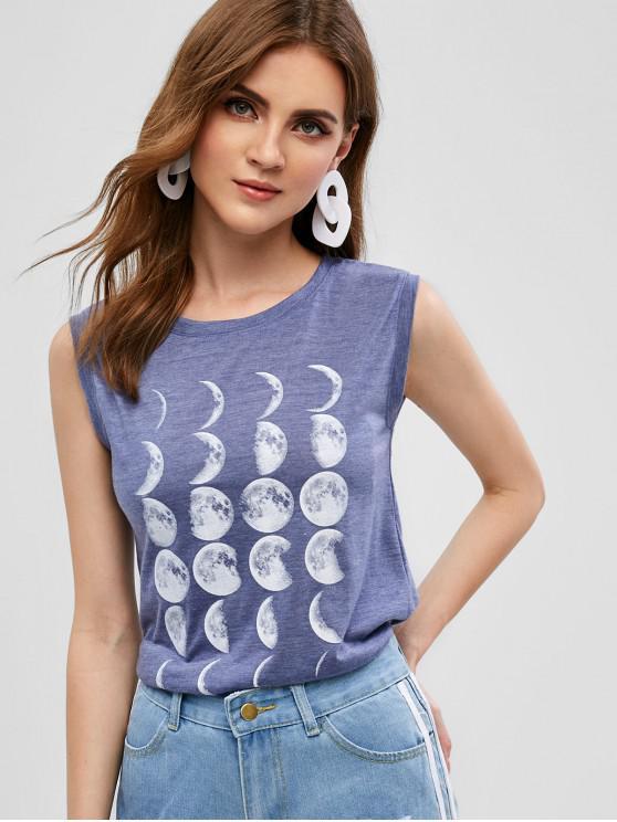 womens Moon Graphic Tank Top - SLATE BLUE L