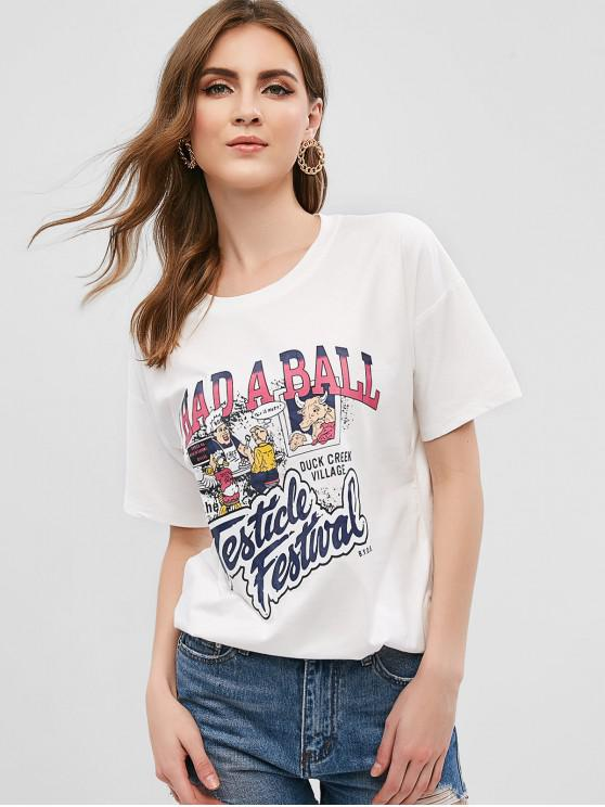 sale Restaurant Letter Graphic Tee - WHITE L