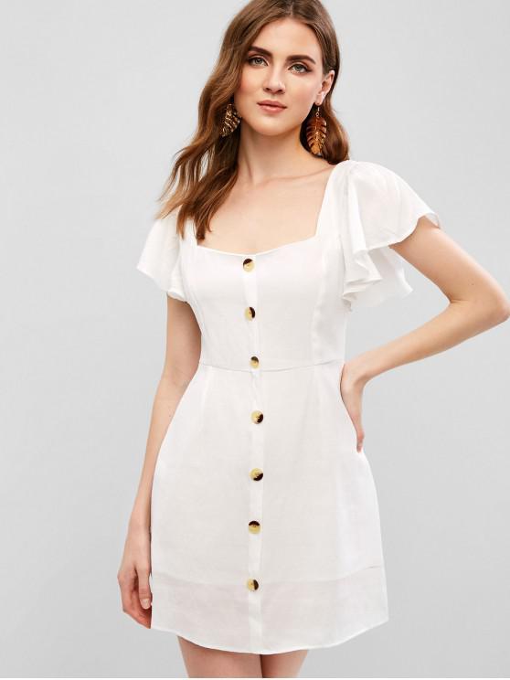 unique Square Buttoned Smocked Mini Dress - WHITE L