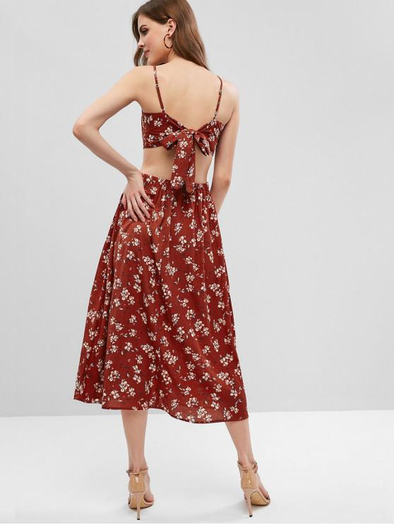 ladies ZAFUL Tied Back Floral Buttoned Top And Skirt Set - CHESTNUT RED L