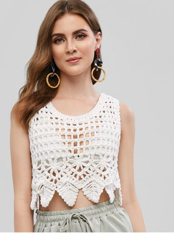 outfit Crochet Openwork Zig Zag Trim Tank Top - WHITE ONE SIZE