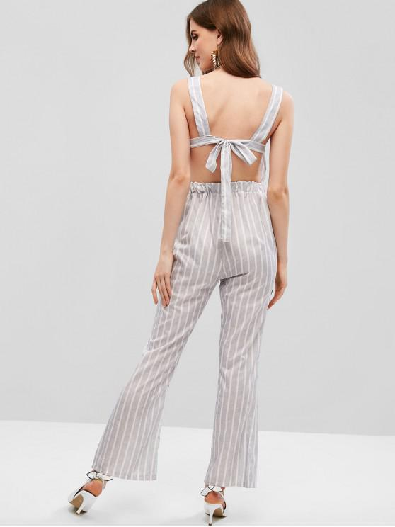 affordable Open Back Striped Boot Cut Jumpsuit - LIGHT GRAY S