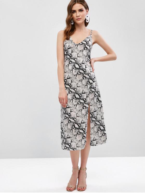 unique Slit Snake Print Cami Midi Dress - MULTI L
