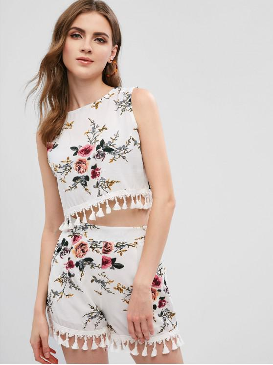 unique Tassels Floral Cropped Top And Shorts Set - WHITE S