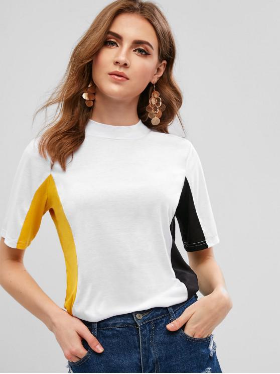 online Color Block T-shirt - WHITE S