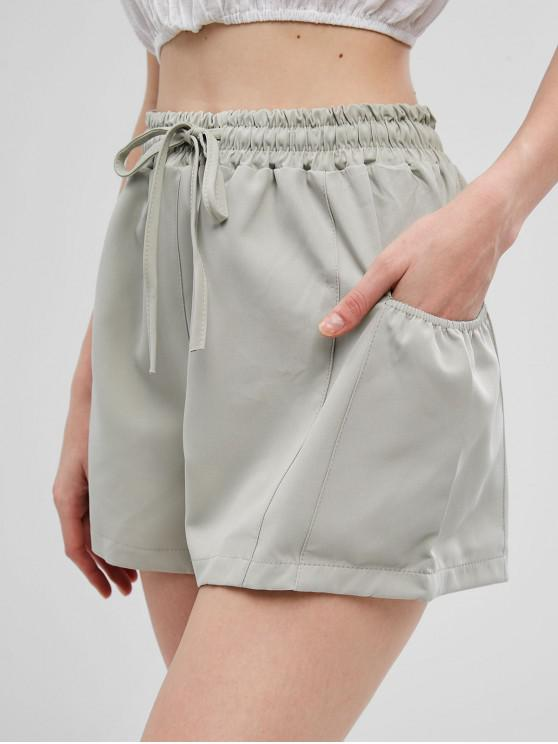 buy Drawstring High Waisted Pockets Shorts - GREEN PEAS S