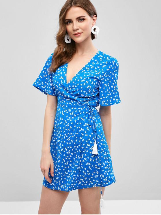 best Floral Tassels Wrap Mini Dress - BLUE S