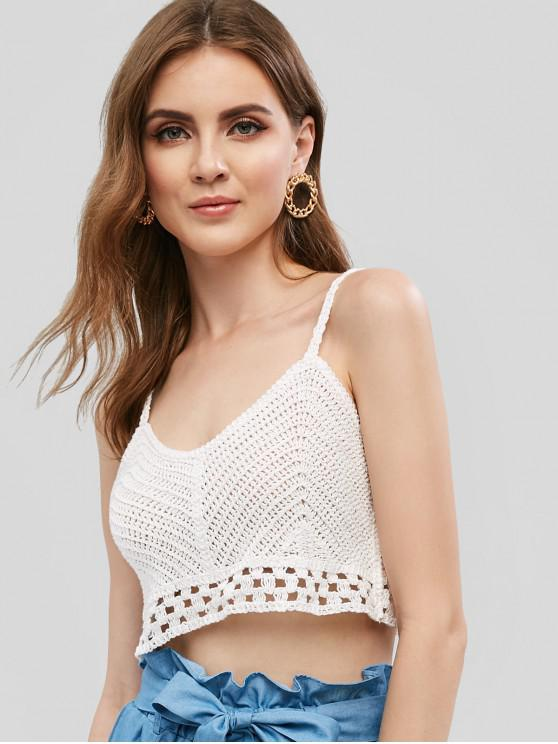 shop Beach Cropped Crochet Cami Top - WHITE ONE SIZE