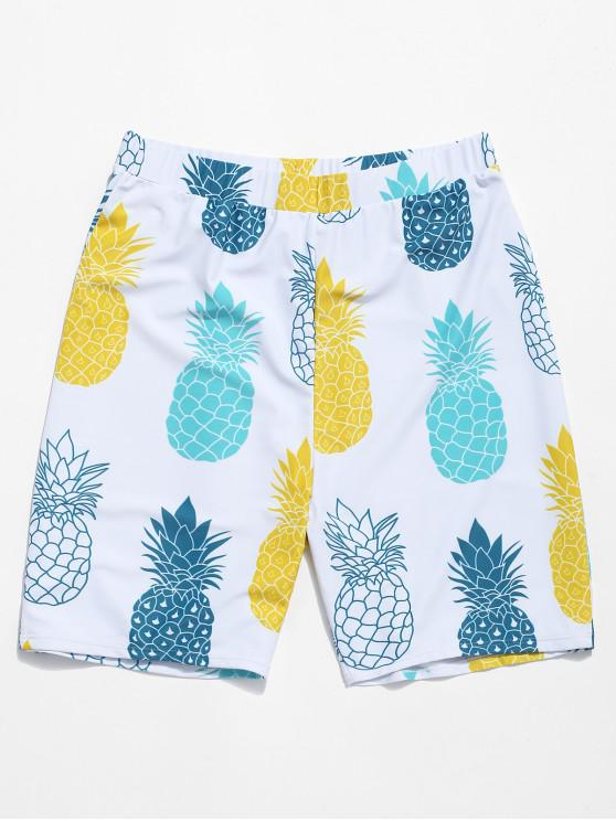 outfits Pineapple Print Casual Beach Shorts - WHITE 2XL