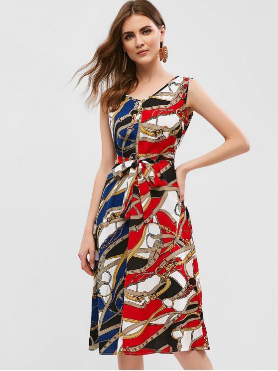 hot Sleeveless Belted Printed Midi Dress - CHESTNUT RED M