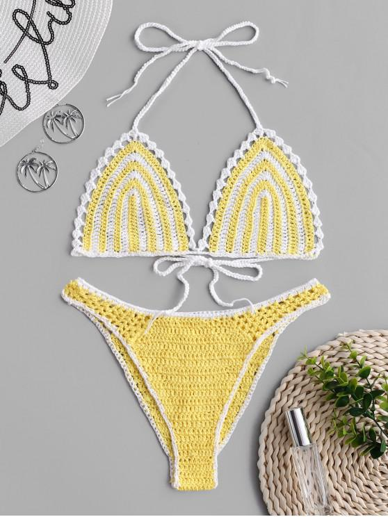 women High Cut Crochet Bikini Set - YELLOW L