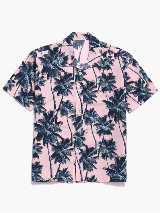 affordable Palm Tree Allover Print Hawaii Board Shirt - PINK 2XL