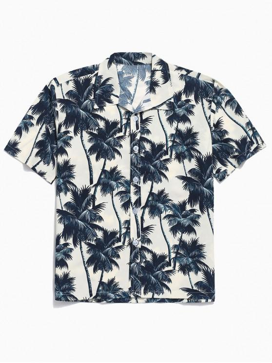women Palm Tree Allover Print Hawaii Board Shirt - APRICOT M